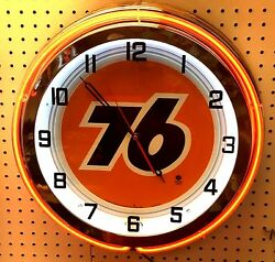 18 Union 76 Gasoline Motor Oil Gas Station Sign Double Neon Clock