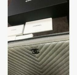 Coco Mark Chevron Silver Long Wallet Purse M42680509973 From Japan
