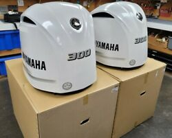 2 Two Yamaha 300hp Engine Cowls Pearl White- Read Description