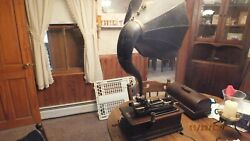 Antique Edison Phonograph And Large Lot Of Cylinder Records