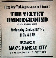 Velvet Underground, Lou Reed, Max's Kansas City 1970 Concert Ad And Review + Mc5