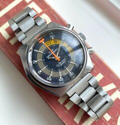 Vintage Memosail Yachting Chronograph Manual Wind Blue Dial Steel Case Watch