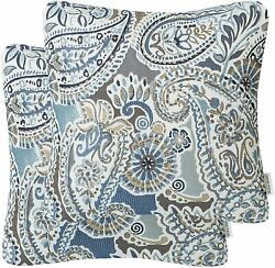 Mika Home Pack of 2 Decorative Pillow Covers Throw Pillow CasesPaisley Pattern