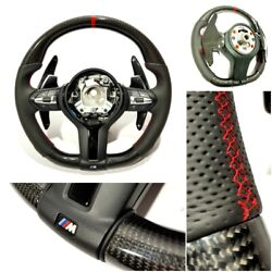 Bmw F15 F30 M Style Steering Wheel Carbon Fiber Leather Paddle Shifts Red Stripe