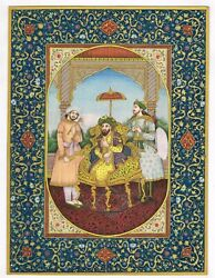 Miniature Portrait Of Emperor Humayun - Mughal Painting Gold And Gouache Artwork