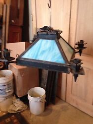 Lt 6 Stained Glass Chandelier Antique
