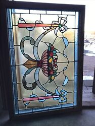 Sg 3492 Antique Stained Glass Fruit Bowl Window 27.75 X 40