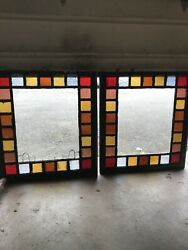 Whistle Matched Pair Of Antique Queen And Stained Glass Windows 34.25 X 38