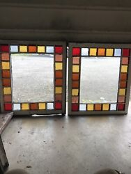 Whistle Pair Antique Queen And Stained Glass Windowandrsquos 34.25 X 39