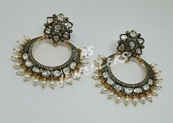Antique 925 Sterling Silver Vintage Polki And Diamond Earrings Birthday Gifts