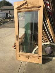 """An 630 Antique Stripped Carved Beveled Glass Entry Door 37 5/16 X 81.75 X1 7/8"""""""
