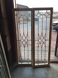 Sg 1357 1 Available 1 Sold Antique Leaded Transom Window 14 X 44