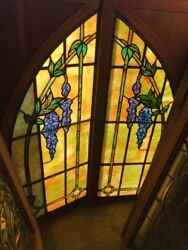 Sg 2338 Match Pair Painted In Fired Stained Glass Arch Top Wisteria Windows 24 Andhellip