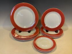 10 Corning Pyrex Flamingo Pink Band Plates 4 Dinner 4 Lunch 2 Cup Saucers