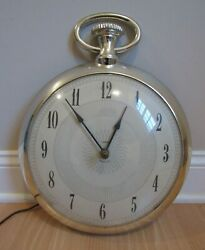 Large Pocket Watch Wall Clock Vintage 1950and039s Spartus Over 13 Diameter Works