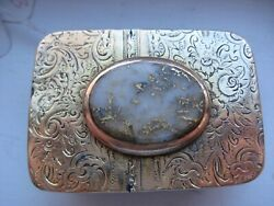 Very Old And Rare Sterling And Gold Buckle With A Large Chunk Of Gold In Quartz