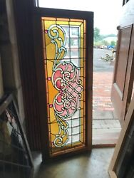 Sg 2892 Antiques Stained Beveled Jeweled Transom Window 18.5 X 48