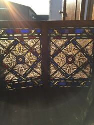 Sg 1533 2available Sold Separate Antique Painted And Fired Window 21.25 X 27.25