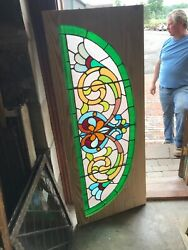 Sg2903 Antique Stained Glass Arch Window 22.75 X 57.5