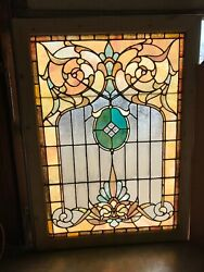 Sg 3240 Antique Stained Glass Landing Window 43 Inch W By 59 Inch H