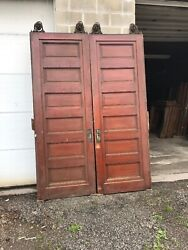 May Our Match Pair Antique Oak And Cherry Pocket Doors 67.5 X 95.5 X 2.5