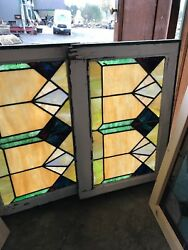 Sg 2584 Matched Pear Antique Deco Pattern Stain Glass Windows 19 X 28