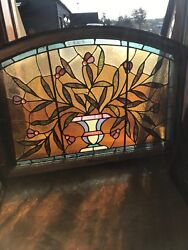 Sg 2572 Antique Potted Plant Jeweled Arch Transom Window