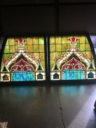Lilly 6 Matched Pair Antique All Stainglass Gothic Design Window
