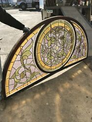 Cm Phil Antique Amazing Arched Half From Stainglass Window 42.5 X 85