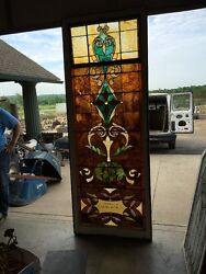 Ca 9 Antique Stained Glass Landing Window 36 X 8and039