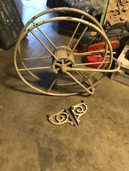 Early Antique Fire Hose Reel 9 1/2 X 38