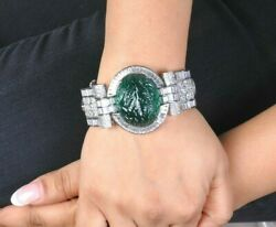 925 Sterling Silver Green Carved Stone White Baguette And Round Cz Royal Bracelet