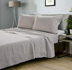 meadow park 100% Stone Washed Linen Sheets with Pillow Cases King Size 4 Pcs Se