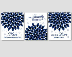 3 prints Bless the food before us quote navy blue kitchen wall art decor