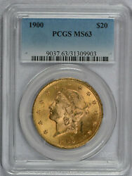 1900 20 Liberty Gold Coin Pcgs Graded Ms63 - Free Shipping