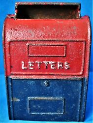 Vintage Unmarked Painted Cast Iron Us Mail Box Still Bank Unknown Maker And Age