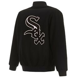 Mlb Chicago White Sox Jh Design Wool Reversible Jacket With Embroidered Logos