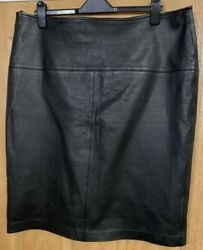 Mands Real Black Leather Skirt Size 18