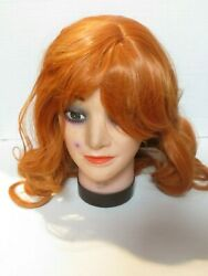 T11 Cying Lin 18 Long Orange Synthetic Curly Wavy Hair Wig For Cosplay