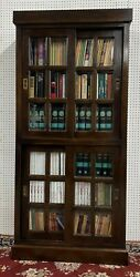 American Vintage Excellent All Solid Wood Bookcase Beveled Glass And Siding Doors