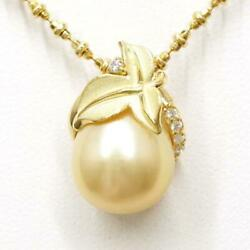 Jewelry 18k Yellow Gold Necklace Pearl Diamond About10.9g Free Shipping Used