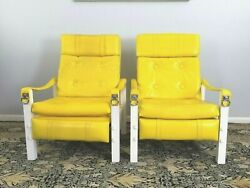 Pair Canary Yellow Vinyl Recliners Lounge Chairs By Burris Industries 1970and039s Mod