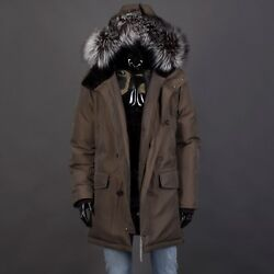 Brioni 7500 City Parka Coat With Castorino Fur Lined Hood And Silverfox Fur