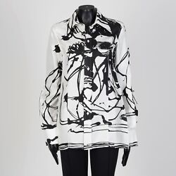 Celine 2290 Abstract Print Shirt In Black And White Mulberry Silk By Phoebe Philo