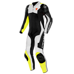 Motorcycle Leather Suit Dainese Assen 2 1 Pc. Perf. White/yellow - Size 46