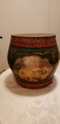 1800's Antiques Chinese Fruit, Rice, Storage Bucket, Basket Green And Gold Gilt