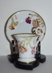 A Fine Tandv Limoges France Cup And Saucer Handpainted Carnation W/stand