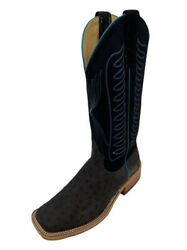Mens Smokey Black Full Quill Ostrich Usa Made Exotic Skin Boot 329828 9.5d