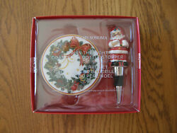Williams Sonoma Twas The Night Christmas Bar Set-wine/bottle Stopper And Coasters