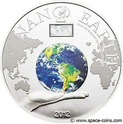 Cook Islands 2012 10 Nano Earth With Nano Chip 50g Silver Proof Coin